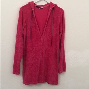 """Splendid 29"""" Hooded Terry Cover Up/Lounge Wear M"""